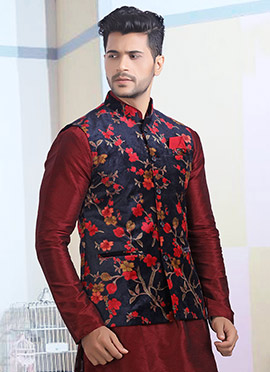 Blue N Red Printed Nehru Jacket