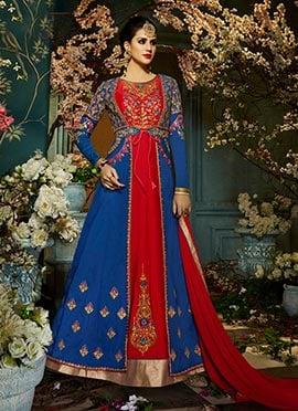 Blue N Red Taffeta Silk Abaya Style Anarkali Suit