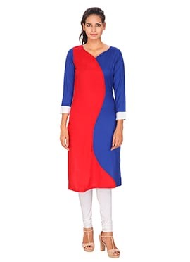 Blue N Red Viscose Kurti