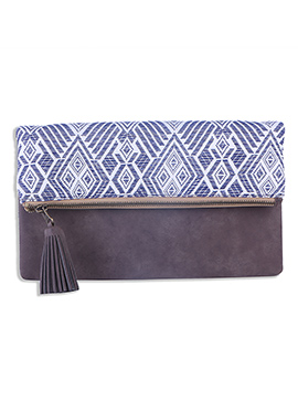Blue N Taupe Grey Canvas Geometric Patterned Clutch