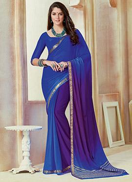 Blue N Violet Chiffon Saree