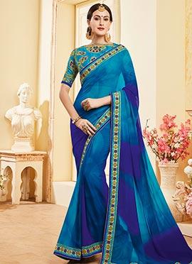 Blue N Violet Embroidered Border Saree