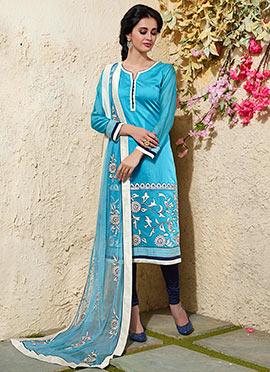 Blue N White Art Chanderi Silk Cotton Churidar Suit