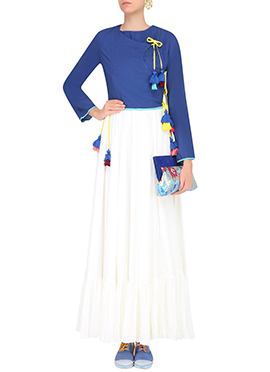 Blue N White Art Silk Skirt Set