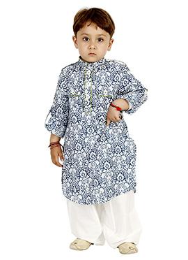 Blue N White Blended Cotton Kids Kurta Pyjama