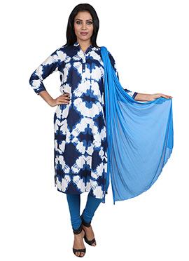 Blue N White Cotton Churidhar Suit