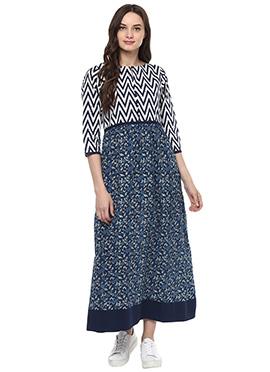 Blue N White Cotton Dress