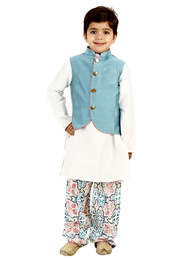 Blue N White Cotton Kids Bandi Set