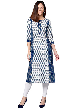 Blue N White Cotton Knee Length Kurti