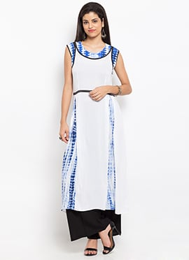 Blue N White Cotton Kurti