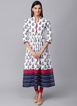 Blue N White Cotton Long Kurti