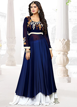Blue N White faux georgette Umbrella Lehenga