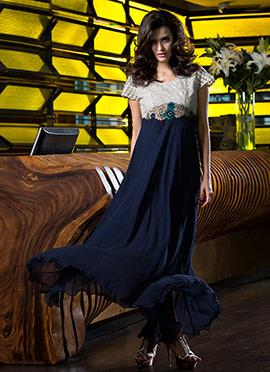 Blue N White Georgette Gown