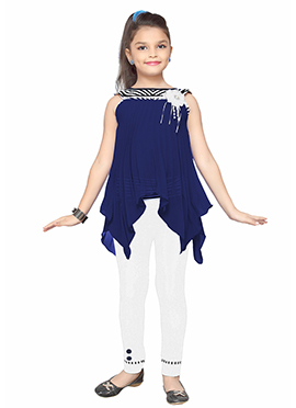 Blue N White Georgette Kids Kurti Set
