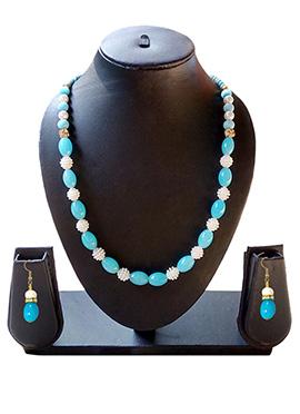 Blue N White Necklace Set