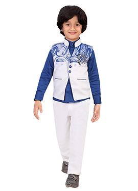 Blue N White Silk Blend Boys Pant Shirt