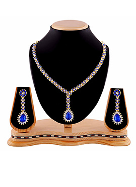 Blue N White Stone Necklace Set