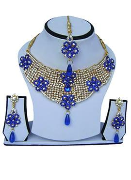 Blue N White Zircon Stone Necklace Set