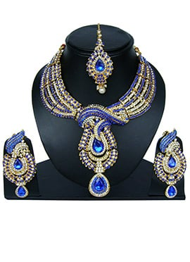 Blue N White Zircon Stone Necklace Set