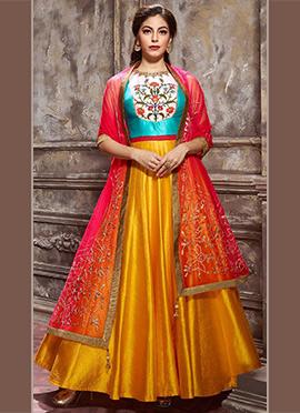 Blue N Yellow Art Silk Anarkali Suit