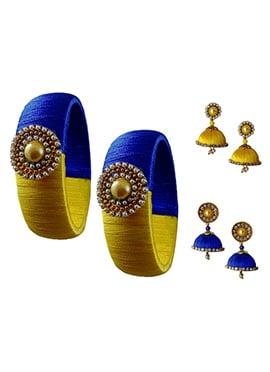 Blue N Yellow Bangles Combo