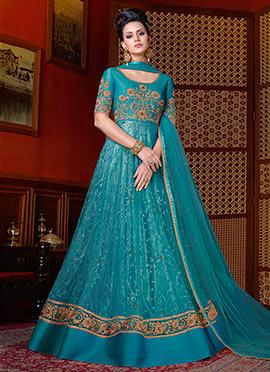 Blue Net Abaya Style Anarkali Suit