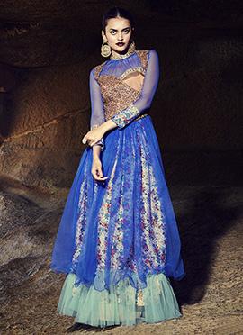 Blue Net Anarkali Gown