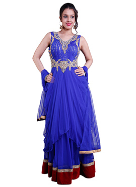 Blue Net Draped Anarkali Suit