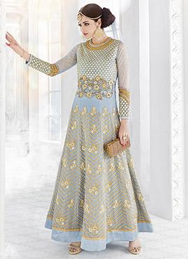 Blue Net Georgette Abaya Style Anarkali Suit