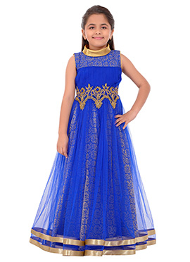 Blue Net Kids Anarkali Gown