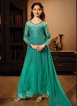 Blue Net Kids Anarkali Suit