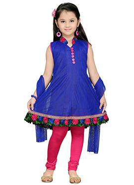 Blue Net Kids Churidar Suit
