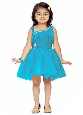 Blue Net Kids Dress
