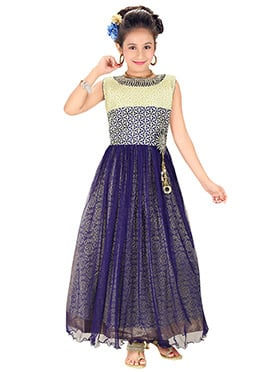 Blue Net Kids Long Gown