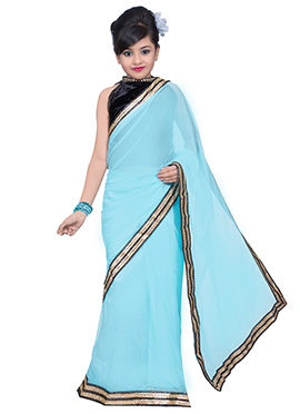 Blue Net Kids Saree