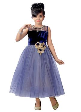Blue Net N Velvet Kids Gown