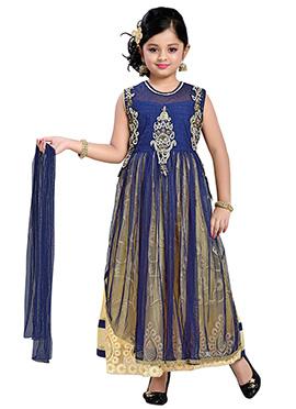 Blue Net Teens Anarkali Suit