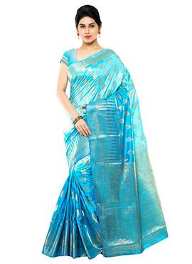 Blue Ombre Art Raw Silk