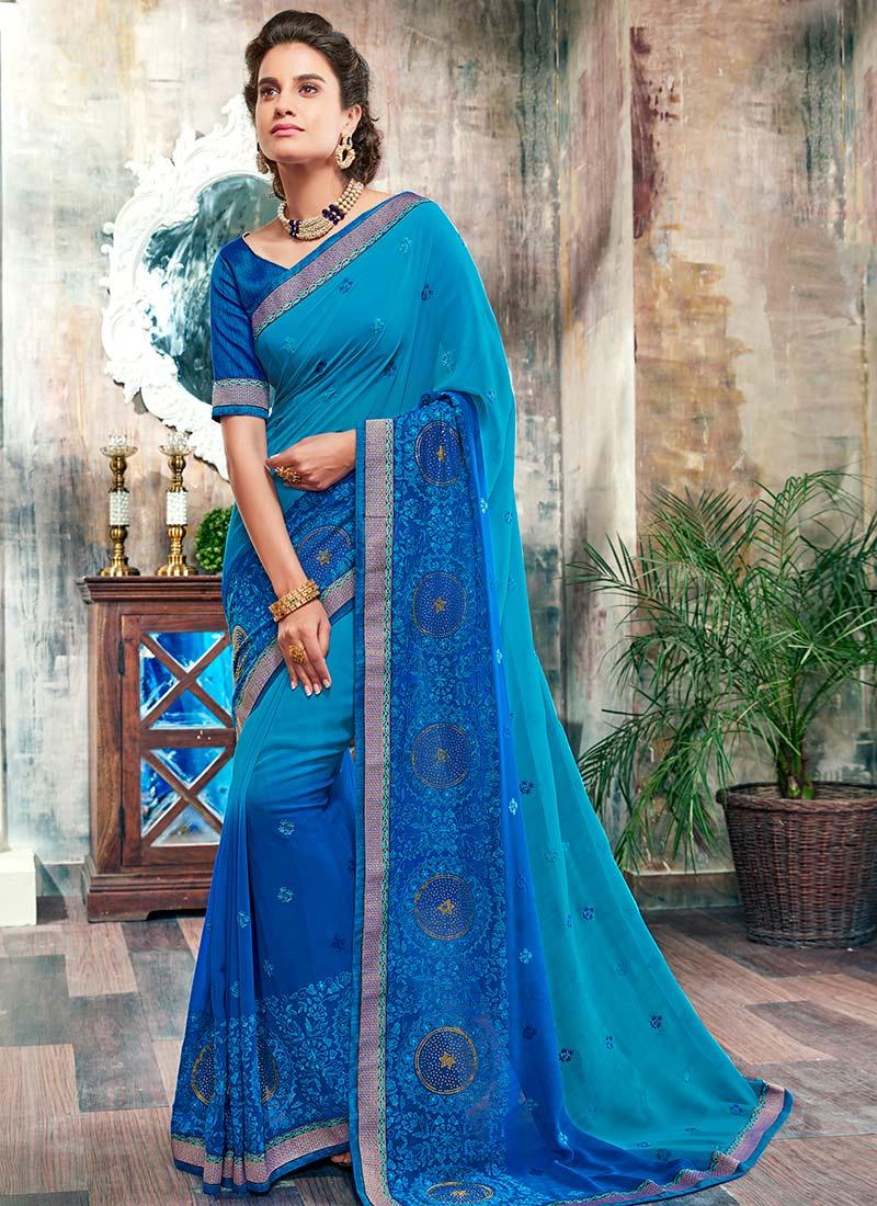 b6e16982fb98ca Buy Blue Ombre Chiffon Saree, Stones , Resham , Embroidered, sari ...