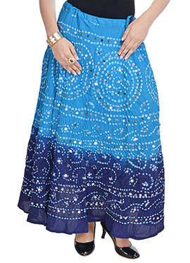 Blue Ombre Dyed Cotton Bandhini Printed Skirt