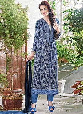 Blue Paisley Printed Straight Pant Suit