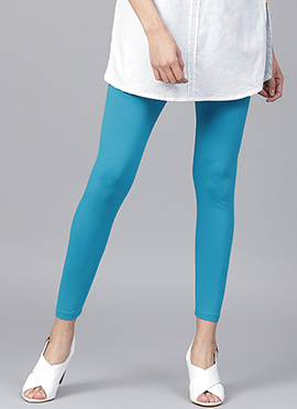 Blue Plain Leggings