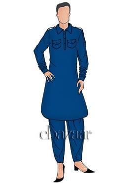 Blue Plain Pathani Set