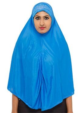 Blue Poly Cotton Hijab