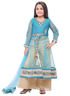 Blue Polyester Net Girls Palazzo Suit