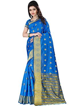 Blue Polyester Saree
