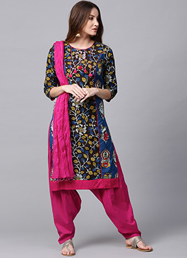Blue Printed Salwar Suit