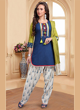 Blue Printed Salwar Suit