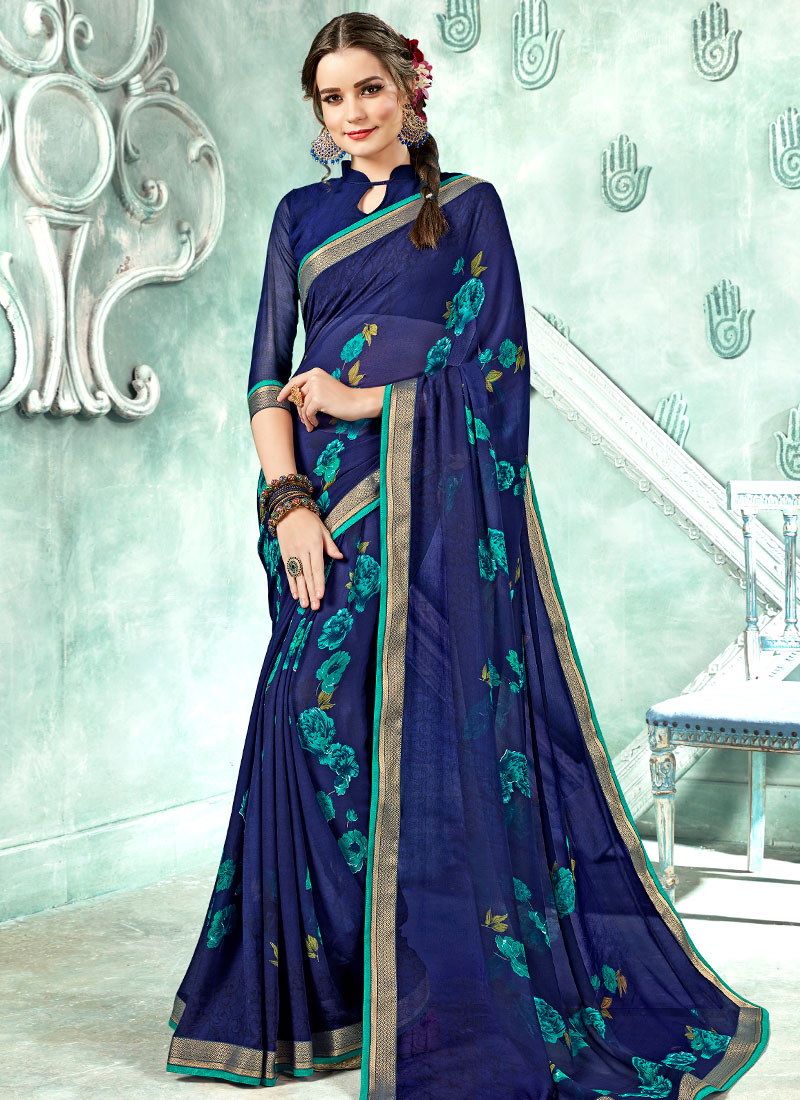f0c7ee3e25c Buy Blue Printed Saree