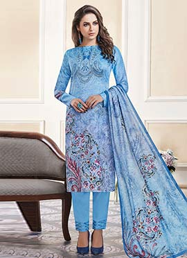 Blue Printed Straight Pant Suit